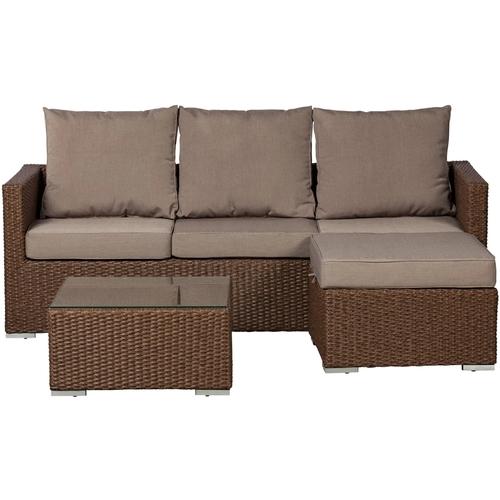 Patio Sense - Resin Wicker 3 Piece Furniture Set - Mocha