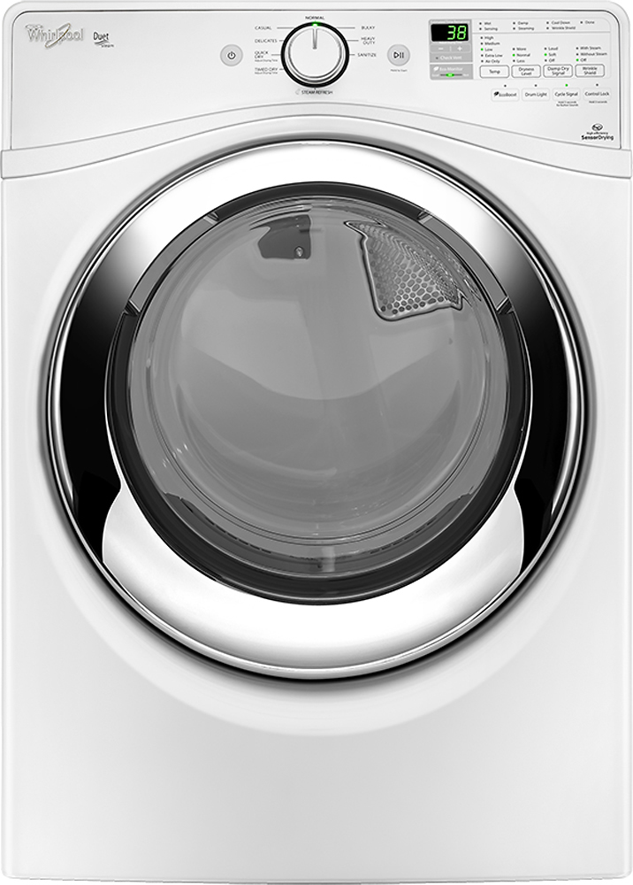 Whirlpool Duet 7.4 Cu. Ft. 9-Cycle Steam Gas Dryer White WGD87HEDW