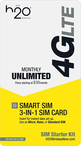 H2O - h2o Smart SIM Starter Kit 3-in-1 GSM SIM Card - Yellow