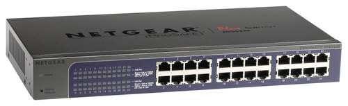 NETGEAR - 24-Port 10/100/1000 Mbps Gigabit Smart Managed Plus Switch - Gray NETGEAR ProSafe Plus 24-Port Gigabit Ethernet Switch: Provides fundamental network features that aid in network performance optimization; 24 RJ-45 Ethernet ports; up to 1000 Mbps data transfer; rack-mountable design