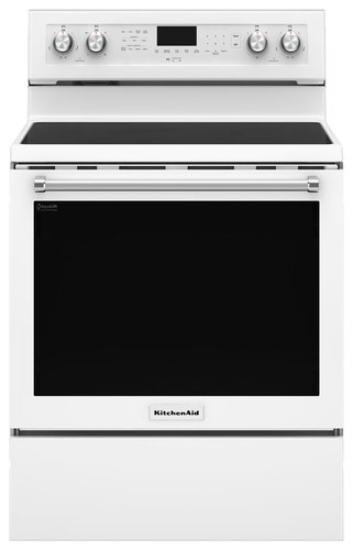 KitchenAid - 6.4 Cu. Ft. Self-Cleaning Freestanding Electric Convection Range - White
