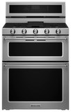KitchenAid 6.7 Cu. Ft. Self-Cleaning Freestanding Double Oven Dual Fuel Convection Range Stainless Steel KFDD500ESS