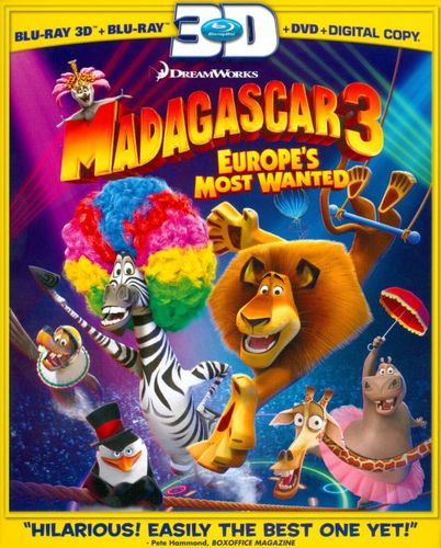 Madagascar 3: Europe's Most Wanted [Includes Digital Copy] [UltraViolet] [3D] [Blu-ray/DVD] [Blu-ray/Blu-ray 3D/DVD] [2012] 6733288