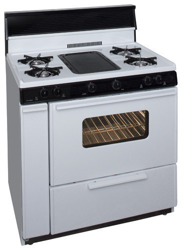 "Premier - 36"" Freestanding Gas Range - White/Black"