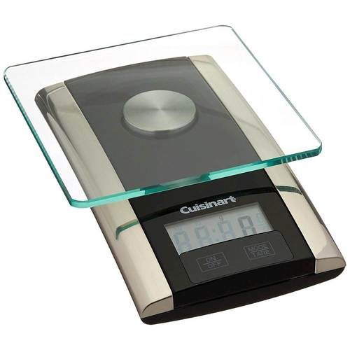 Cuisinart - WeighMate™ Digital Kitchen Scale - Black Stainless Large LCD display; touchpad buttons; dishwasher-safe, removable stainless steel cover; durable tempered glass weighing platform; imperial and metric measurement options; weight capacity up to 11 lbs.; tare function