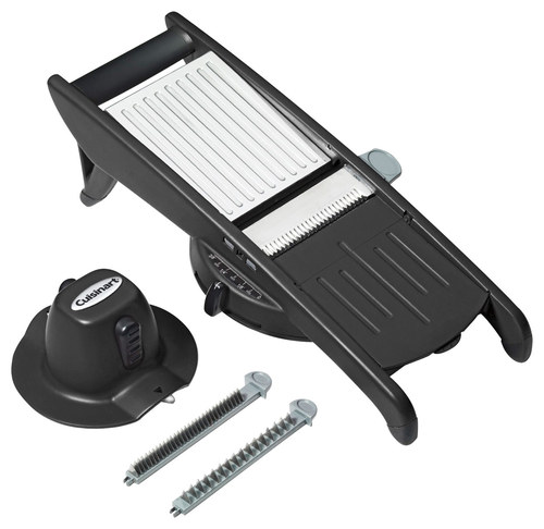 Cuisinart - Mandoline Slicer - Black Stainless-steel blades; adjustable slicing width; holder; safety cover; soft-grip handle and feet; dishwasher-safe design