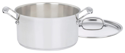 Cuisinart - Chef's Classic 6-Quart Sauce Pot - Stainless-Steel 18/10 stainless-steel; aluminum-encapsulated base; stainless-steel riveted handle; tapered rim; tight-fitting cover