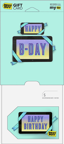 Best Buy GC - $100 Happy Birthday Tablet Gift Card Perfect gift card? Piece of cake. All Best Buy gift cards are shipped free and are good toward future purchases online and in U.S. or Puerto Rico Best Buy stores. Best Buy gift cards do not have an expiration date.