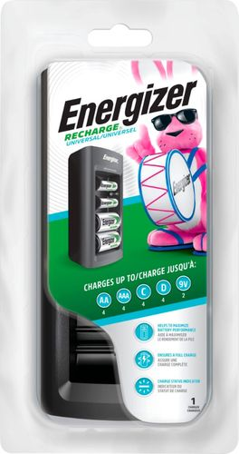 Energizer - Universal Compact Battery Charger - Black