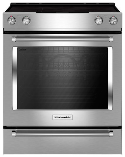 KitchenAid - 7.1 Cu. Ft. Self-Cleaning Slide-In Electric Convection Range - Stainless steel