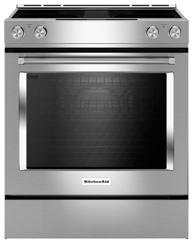 KitchenAid - 6.4 Cu. Ft. Self-Cleaning Slide-In Electric Convection Range - Stainless steel
