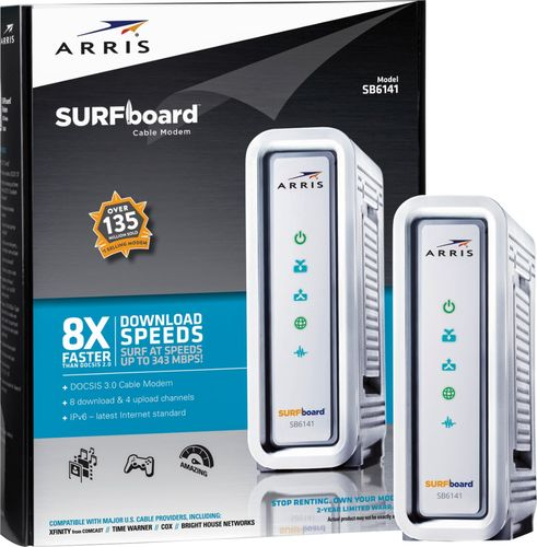 ARRIS - SURFboard 8 x 4 DOCSIS 3.0 Cable Modem - Silver Speeds up to 343 MbpsUniversal1 Ethernet Port