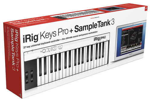 IK Multimedia - iRig Keys 37-Key USB MIDI Controller and SampleTank 3 Workstation Software - Red/White/Black 7644407