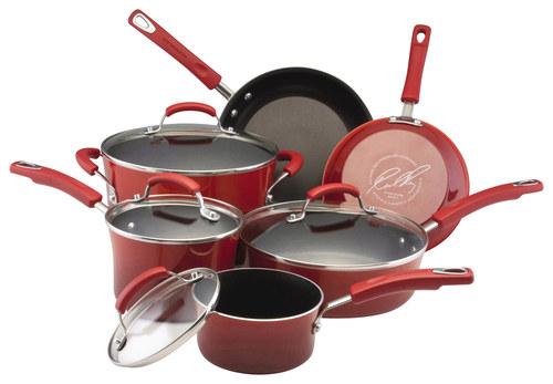 Rachael Ray - 10-Piece Hard Enamel Nonstick Cookware Set - Red