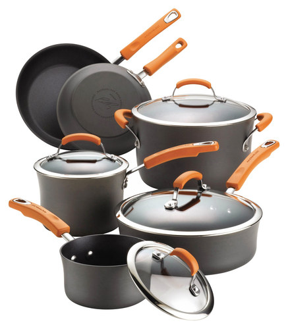 Rachael Ray - 10-Piece Nonstick Cookware Set - Gray/Orange