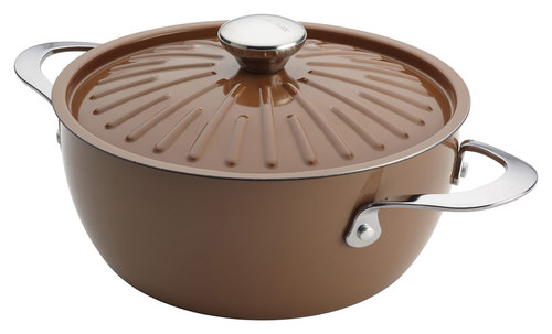 Rachael Ray - Cucina Oven-to-Table 4.5-Quart Covered Round Casserole - Espresso/Mushroom Brown 7745222