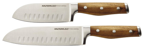 Rachael Ray - Cucina 2-Piece Knife Set - Brown Includes 5  and 7  santoku knives made from Japanese stainless-steel material; finely honed, corrosion-resistant full-tang blades with air pockets; triple-riveted acacia wood handle; plastic sheaths