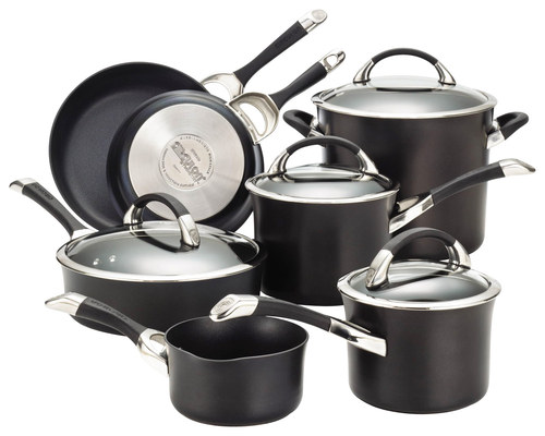 Circulon - Symmetry 11-Piece Cookware Set - Black CIRCULON Symmetry 11-Piece Cookware Set: Hard-anodized aluminum construction; silicone/stainless-steel handle; PFOA-free metal-utensil-safe interior; TOTAL food release system; DuPont Autograph nonstick technology; oven-safe to 400 degrees