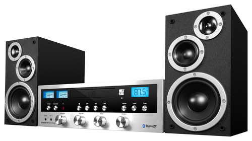 Innovative Technology - Classic CD 50W Stereo System with Bluetooth - Silver