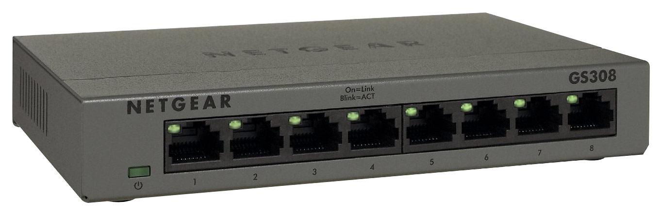 NETGEAR GS308100PAS 300 Series Unmanaged SOHO 8-Port 10/100/1000 Gigabit Switch Silver