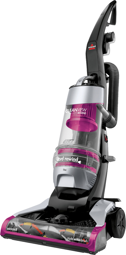 BISSELL 1823 CleanView Plus Rewind Bagless Upright Vacuum Sparkle Silver/LaBomba Pink