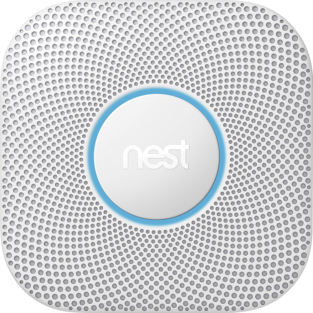 Google - Nest Protect 2nd Generation Smart Smoke/Carbon Monoxide Wired Alarm - White