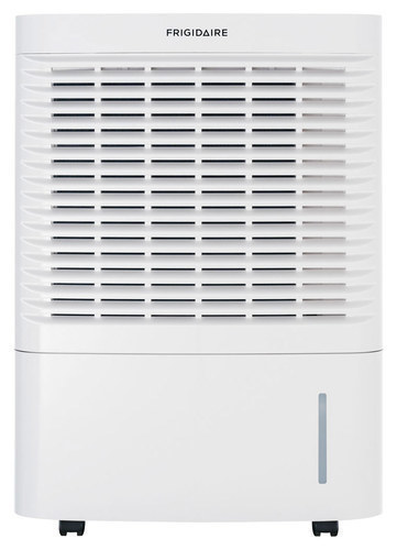 Frigidaire - 95-Pint Portable Dehumidifier - White FRIGIDAIRE 95-Pint Portable Dehumidifier: Removes up to 95 pints of water per day; 7.5 amps; electronic controls; Effortless humidity control; Effortless automatic shutoff; Effortless clean filter; Effortless full-tank alert system; SpaceWise design