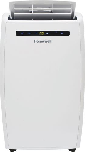 Honeywell - 450 Sq. Ft. Portable Air Conditioner - White 450 sq. ft. cooling capacity; 9.5 amps; electronic; touch sensitive controls; washable filter; ventilation only mode; adjustable thermostat; built-in wheels; variable speed setting; 3 fan settings