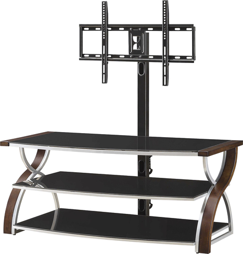 "Whalen Furniture - 3-in-1 Console for Most Flat-Panel TVs Up to 65"" - Brown Cherry"