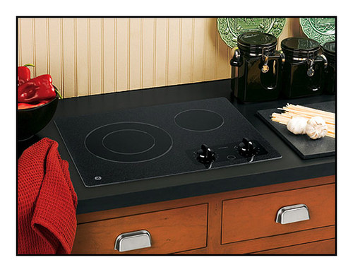 "GE - 21"" Built-In Electric Cooktop - Black"