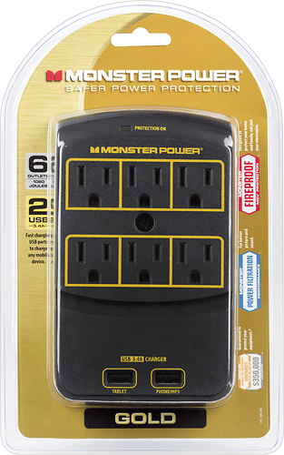 Monster® Surge Protector 1in USB Charging Port - Black (121824)