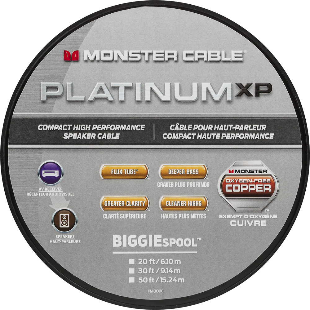 Monster MC PLAT XPMS-50 WW  140730 Platinum Clear Jacket MKIII 50' Compact Speaker Cable Clear/Copper
