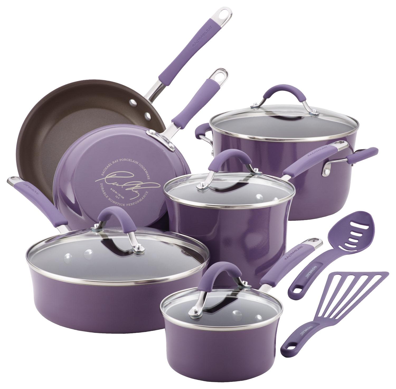 Rachael Ray - Cucina 12-Piece Cookware Set - Espresso/Lavender Purple