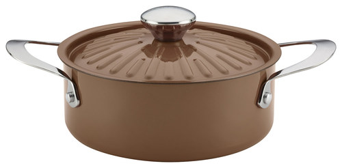 Rachael Ray - Cucina Oven-to-Table 2.5-Quart Covered Round Casserole - Espresso/Mushroom Brown 8682206