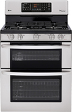 """LG 30"""" Self-Cleaning Freestanding Double Oven Gas Range Stainless Steel LDG3035ST"""