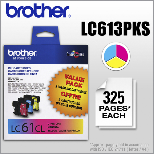 Brother - LC61CL 3-Pack Ink Cartridges - Cyan/Yellow/Magenta