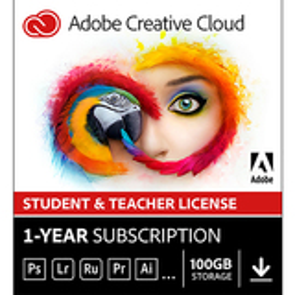 Adobe 65222646 Creative Cloud Student and Teacher Edition (1-Year Prepaid Subscription Card) Mac Windows