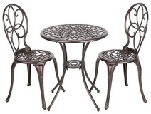Patio Sense 61490 Aluminum 3-Piece Bistro Set Bronze