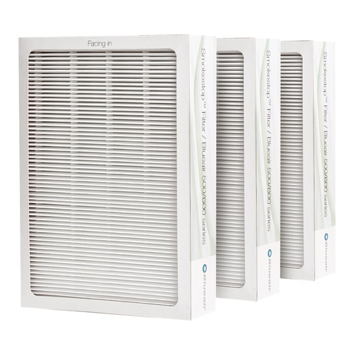 Blueair - SmokeStop Replacement Filters for Blueair Classic 500/600 Series Air Purifies (3-Pack) - White/Black 9450845