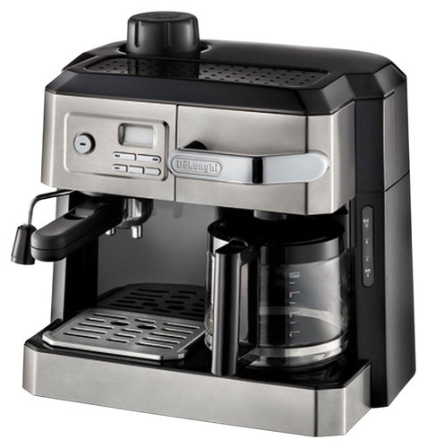 DeLonghi - Espresso Maker/10-Cup Coffeemaker - Stainless-Steel/Black 9453881