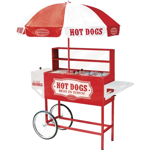 Nostalgia - Vintage Collection Old Fashioned Hot Dog Vending Cart with Umbrella - Red/White 9466963