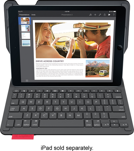 Logitech - Type+ Bluetooth Keyboard Case for Apple® iPad® Air 2 - Black