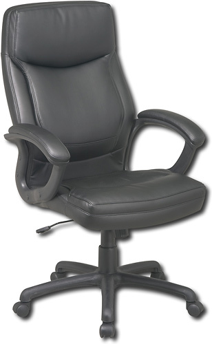 Office Star Furniture - High-Back Eco Leather Executive Chair - Black