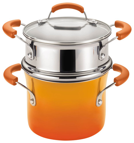 Rachael Ray - 3-Quart Covered Steamer Set - Orange