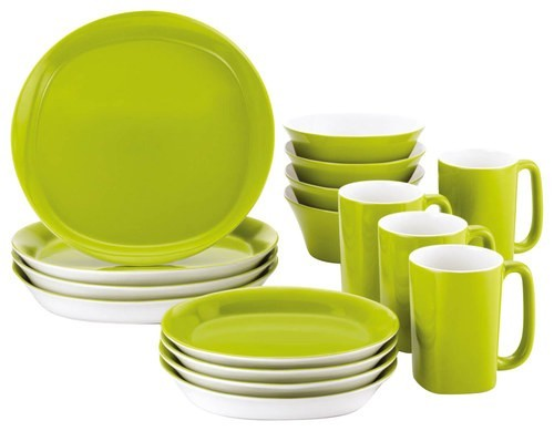 Rachael Ray - Round & Square Collection 16-Piece Dinnerware Set - Green