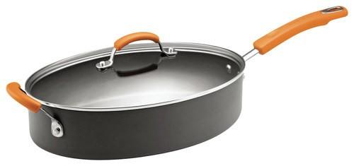 Rachael Ray - 5-Quart Covered Oval Sauté Pan - Gray/Orange