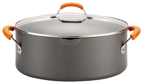 Rachael Ray - 8-Quart Covered Pasta Etc. Pot - Gray/Orange