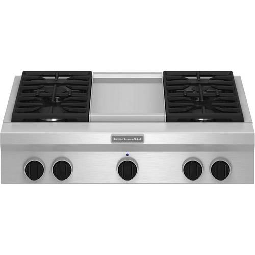"""KitchenAid - 36"""" Gas Cooktop - Stainless steel"""