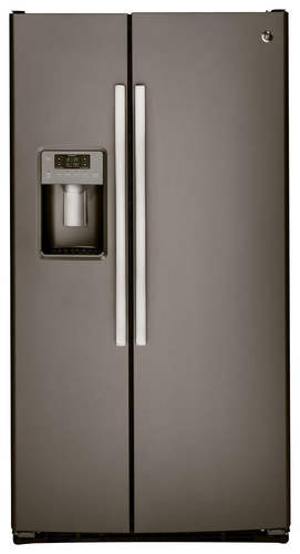 GE - 25.4 Cu. Ft. Side-by-Side Refrigerator with Thru-the-Door Ice and Water - Slate