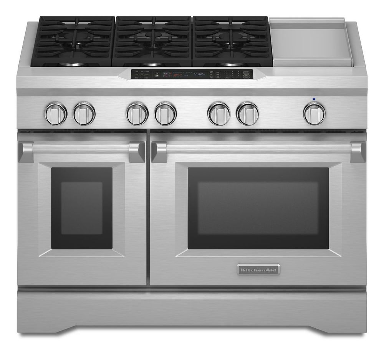 KitchenAid 6.3 Cu. Ft. Self-Cleaning Freestanding Double-Oven Dual Fuel Convection Range Silver KDRS483VSS